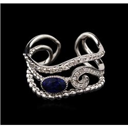 0.70 ctw Sapphire and Diamond Ring - 14KT White Gold