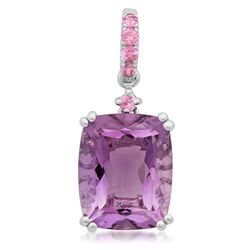 14k White Gold  3.69CTW Amethyst and Pink Sapphire Pendant