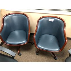 2 BLUE LEATHER AND WOOD EXECUTIVE TUB CHAIRS