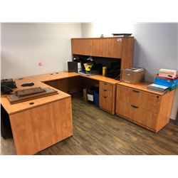 U-SHAPE DESK WITH MATCHING HUTCH AND LATERAL FILING CABINET