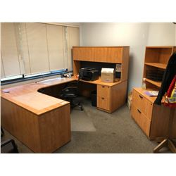 USHAPE OFFICE DESK WITH HUTCH AND FILING CABINET, CORNER SHELF UNIT, 3 CHAIRS, AND 2 WHITE BOARDS