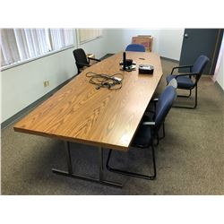 2 PIECE BOARDROOM TABLE WITH MATCHING ROUND SIDE TABLE