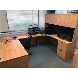 U-SHAPE 4 PIECE 5 DRAWER DESK WITH MATCHING 4 DOOR HUTCH AND OFFICE CHAIR