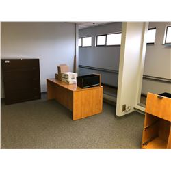 CONTENTS OF UPPER LANDING INCLUDES METAL LATERAL FILING CABINET AND ASSORTED DESK PARTS