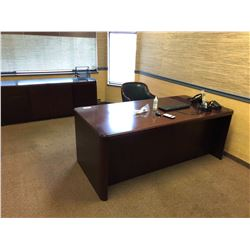 CONTENTS OF EXECUTIVE OFFICE INCLUDES OFFICE DESK, CREDENZA, 2 LEATHER & WOOD CHAIRS AND MORE