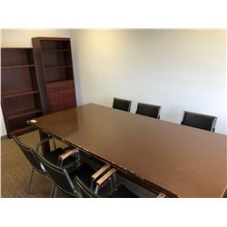 CONTENTS OF UPPER CONFERENCE ROOM INCLUDES, BOARD ROOM TABLE, ALL CHAIRS AND 2 SHELF UNITS