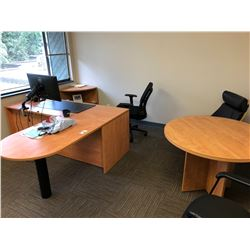 CONTENTS OF OFFICE INCLUDES CORNER SHELF UNIT DESK,, ROUND TABLE 3 CHAIRS AND WHITEBOARD