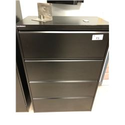 PERFORMANCE BLACK 4 DOOR LATERAL FILING CABINET AND BLACK CHAIR