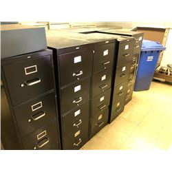 6 BLACK AND 1 BROWN 4 DRAWER FILING CABINETS