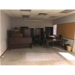 ROOM OF ASSORTED DESKS AND FILING CABINETS