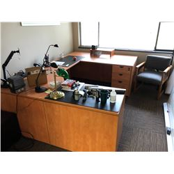 CONTENTS OF OFFICE INCLUDES U-SHAPE OFFICE DESK, WHITEBOARD, AND 5 TIER MATCHING SHELF UNIT
