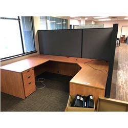 U-SHAPE DESK WITH WALL PARTITION AND CHAIR