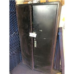 BLACK METAL STORAGE CABINET WITH PAINT ROLLER CONTENTS