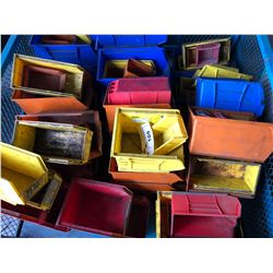 LOT OF ASSORTED SIZE AND COLOR PLASTIC HARDWARE BINS