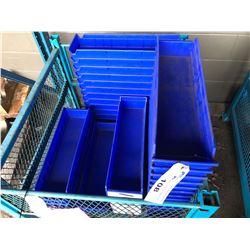 LOT OF BLUE PLASTIC HARDWARE BINS