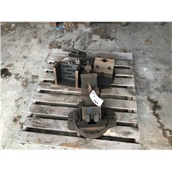 PALLET OF HEAVY DUTY ASSORTED CLAMPS AND VISES