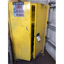 YELLOW JUSTRITE FLAMMABLE GOODS STORAGE CABINET INCLUDES PAINT CONTENTS