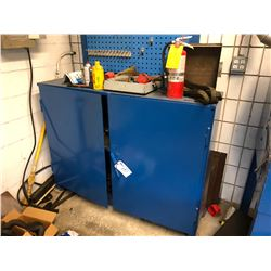 BLUE 2 DOOR METAL CABINET WITH CONTENTS
