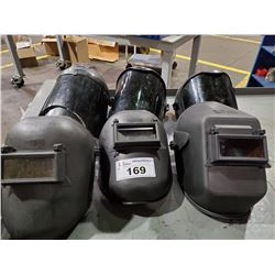 3 WELDING MASKS AND 2 SAFETY FACE SHIELDS