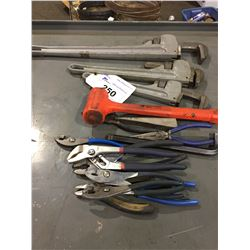 3 ASSORTED SIZE ALUMINUM PIPE WRENCHES, SIDE CUTTERS AND PLIERS