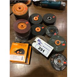 LOT OF ASSORTED BACKING DISCS & ASSORTED SIZE GRINDING DISCS AND MORE