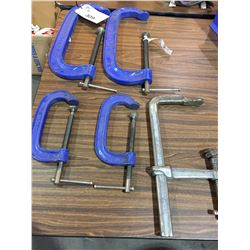"""2 RECORD 12"""" , 2 6"""" RECORD C-CLAMPS AND ADJUSTABLE CLAMP"""
