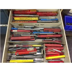 LOT OF ASSORTED ENDMILLS, TAPER & PARALLEL REAMERS
