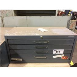 GREY 4 DRAWER TOLL BOX WITH ASSORTED DRILL BITS