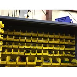 TOP 4 ROWS OF ASSORTED DRILL BITS IN  BLUE TOOLING  CABINET