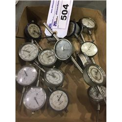 LOT OF ASSORTED DIAL GAGES SOME MISSING COVERS