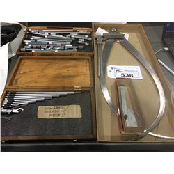 LOT OF ASSORTED MICROMETER STANDARDS, CALIPER AND MORE