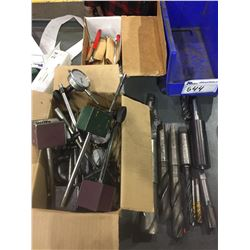 BIN AND BOX OF ASSORTED MORSE TAPER TOOLING, MAGNETIC BASES, INSPECTION MIRRORS, AND DIAL
