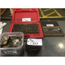 PIN GAGE MINUS PLUS GAGE SET, AND OTHER ASSORTED MEASURING DEVICES