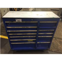 """BLUE 42""""W X 18""""D X 41""""H   13 DRAWER MOBILE TOOL CABINET WITH TOOL CONTENTS, HAMMERS, WRENCHES,"""