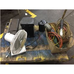 LOT OF TROUBLE LIGHTS, FAN AND SMALL APPLIANCES