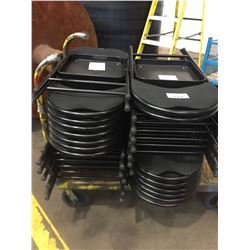 LOT OF BLACK FOLDING CHAIRS (CART  NOT INCLUDED)