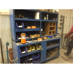 BLUE METAL CABINET WITH CONTENTS