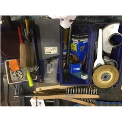 LOT OF DRILLS, WIRE BRUSHES AND MORE