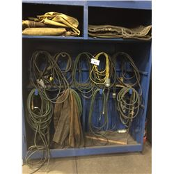 LOT OF HOSES AND CORDS WITH CABINET
