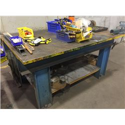 STEEL TABLE WITH VISE AND SMALL TABLE