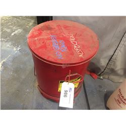 2 JUSTRITE RED OILY WASTE CANS