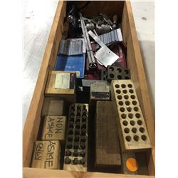 BOX OF ASSORTED LETTER PUNCHES, MEASURING TOOLS, AND MORE