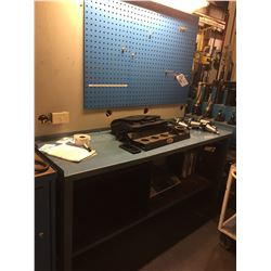 BLUE STEEL WORKBENCH WITH TOOLING BACKBOARD(NO CONTENTS INCLUDED)