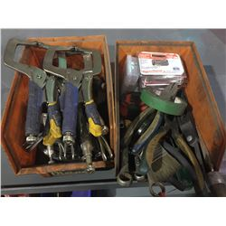 LOT OF ASSORTED VISE GRIPS, PLIERS, AND MORE