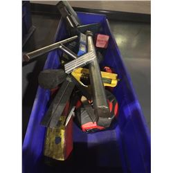 BIN OF ASSORTED TOOLING, TAPE MEASURES AND MORE