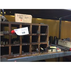 SHELF OF ASSORTED BROACHES, TOOLING, AND MORE