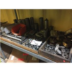 SHELF OF ASSORTED TAPERED TOOLING AND MORE