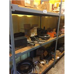 3 SHELVES OF ASSORTED TOOLS, FITTINGS, HOSES, AND MORE