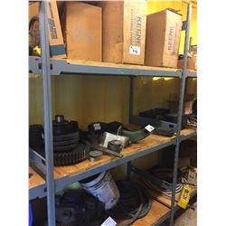 3 SHELVES OF ASSORTED LIGHTING, GEARS, HOSE. AND MORE