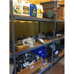 3 SHELVES OF ASSORTED OIL, MOTOR, BRACKETS, AND MORE